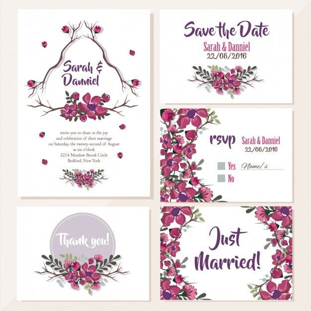 Wedding invitations floral design Vector | Free Download