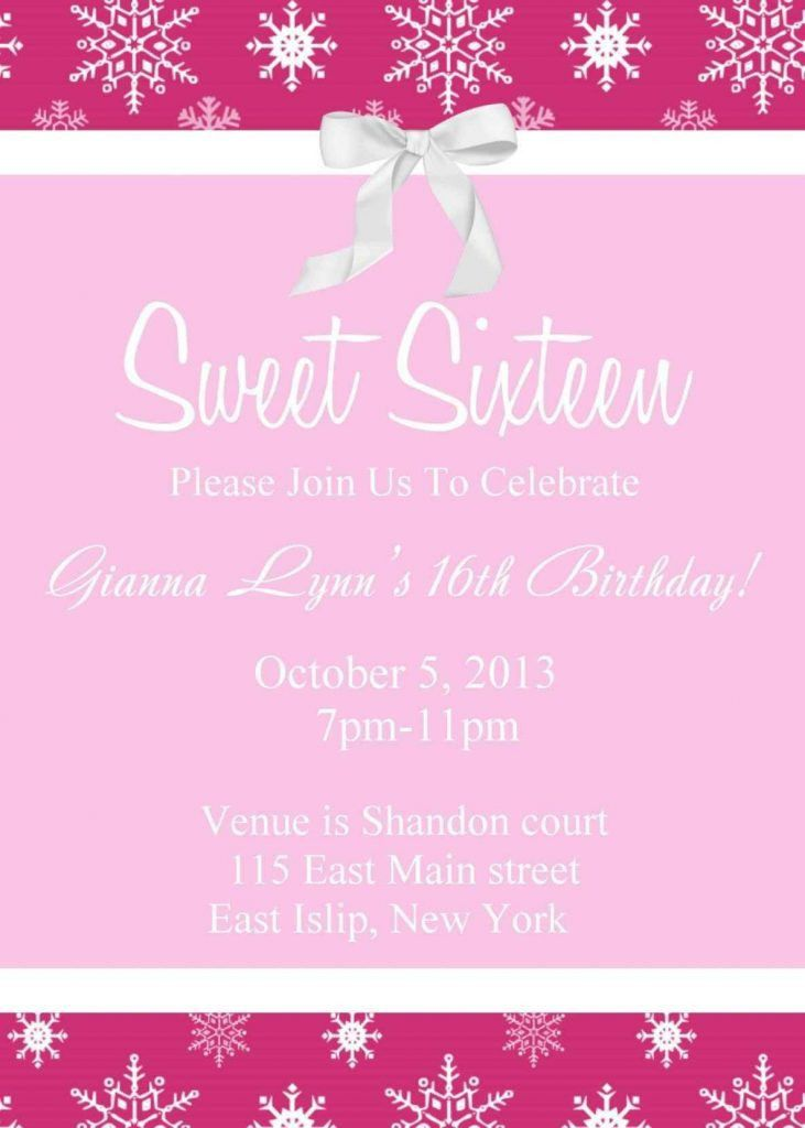 Free Sweet 16 Invitation Templates - Template Update234.com ...