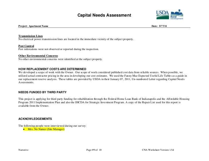 Capital Needs Assessment Example