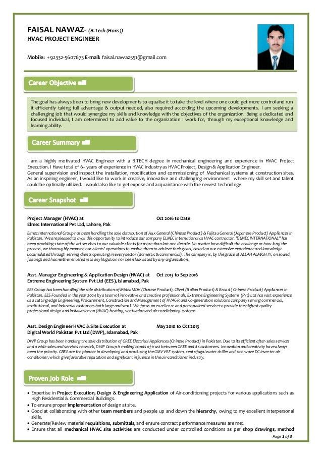 FAISAL NAWAZ HVAC PROJECT ENGINEER RESUME