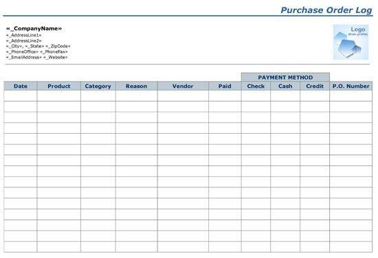 Purchase Order Log {Word-PDF} Format