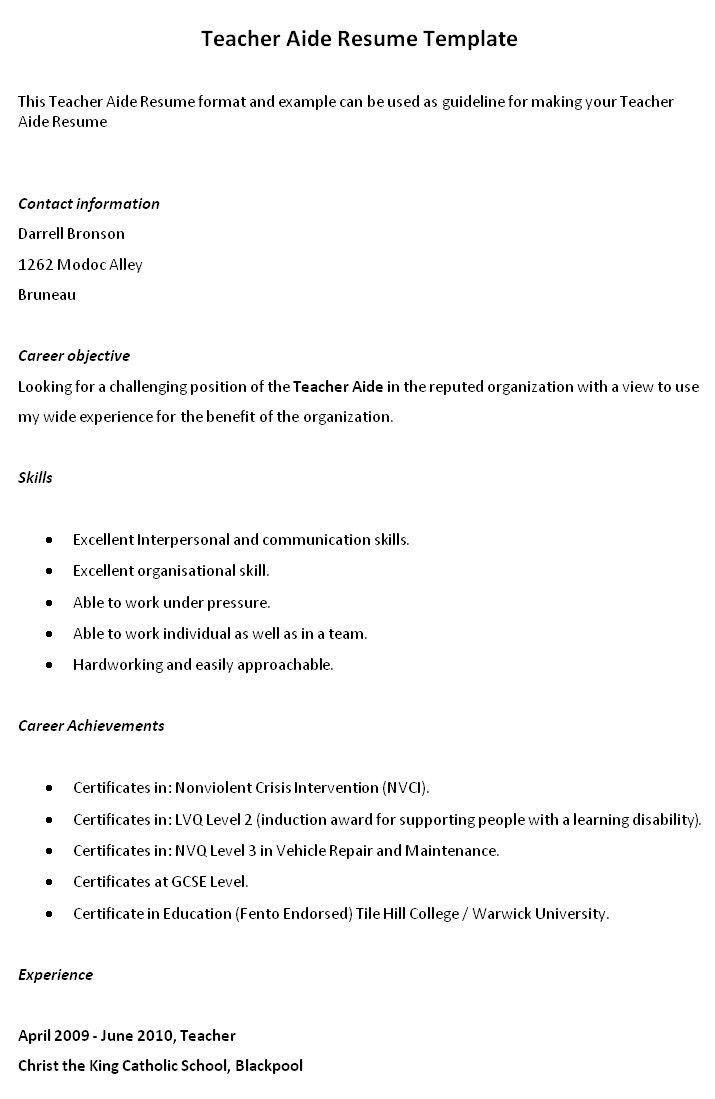 teacher aide resume example. teachers aide resume example. resume ...