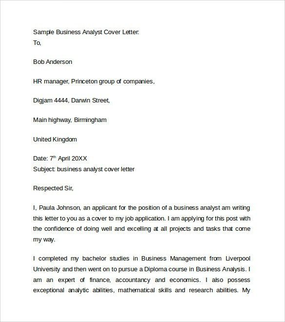 Document Analyst Cover Letter