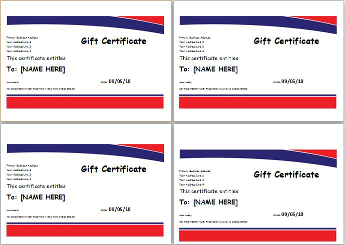 Hotel Gift Certificate Template for MS WORD | Document Hub