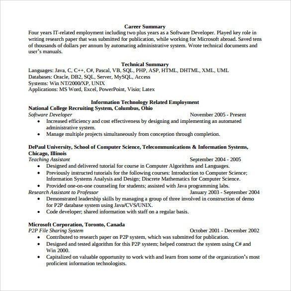 Sample Software Developer Resume - 10+ Free Documents Download in ...