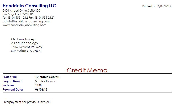 vendor credit memo template
