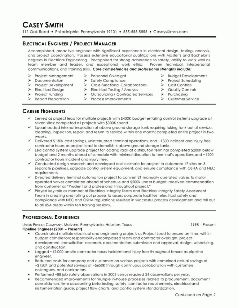 Download Lead Electrical Engineer Sample Resume ...