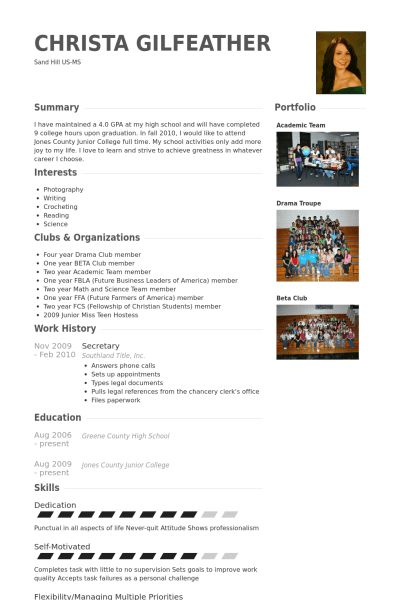Secretary Resume samples - VisualCV resume samples database