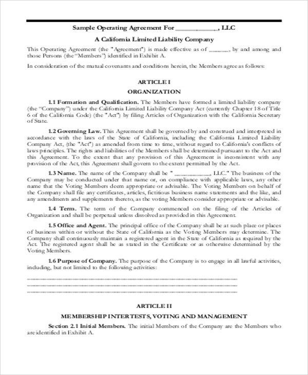 Sample Business Operating Agreements - 8+ Examples in Word, PDF