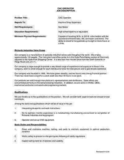 CNC Operator Machinist Job Description Sample : XpertResumes.com