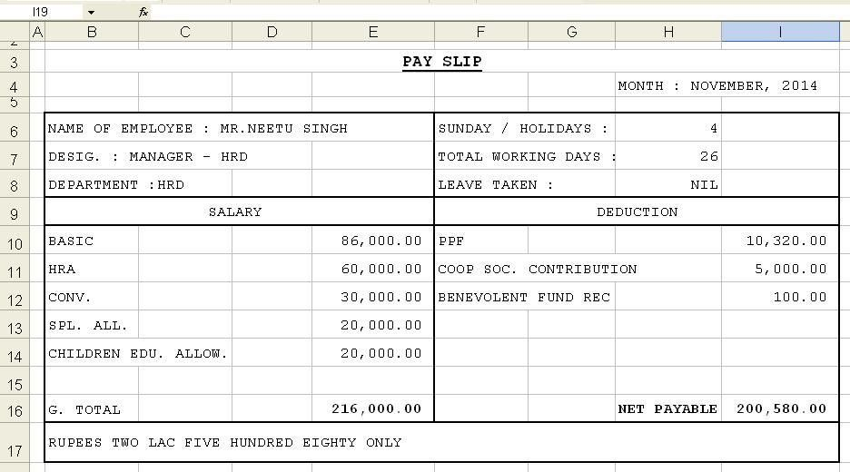 Pay Slip Format | citehrblog