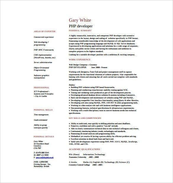 php developer resume