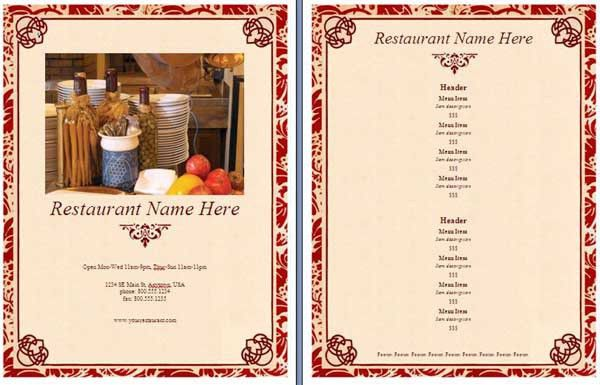 Microsoft Word Templates: Restaurant Menu Template
