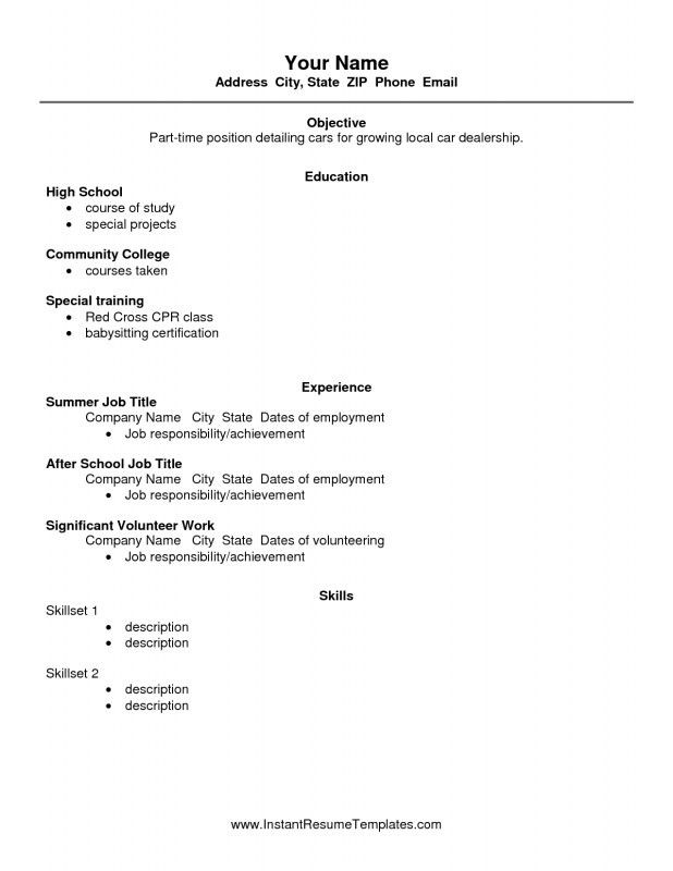Basic Resume Templates For High School Students 12 10 High School ...