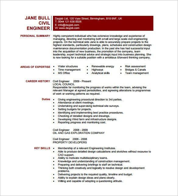 Civil engineering resume template word