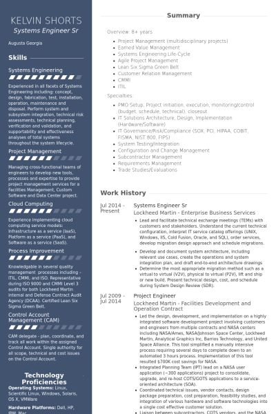 Systems Engineer Resume samples - VisualCV resume samples database