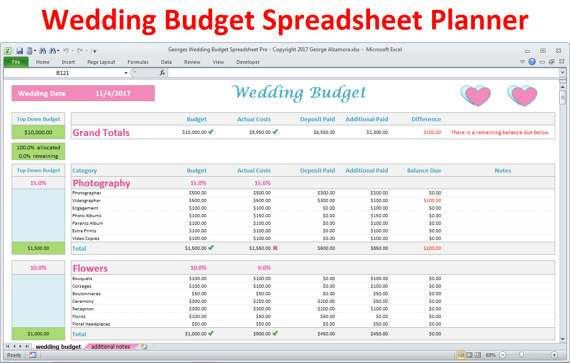 Wedding Budget Spreadsheet - Wedding Planner Excel Budget Template ...