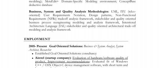 Resume: Business & System Analyst Architect & Researcher