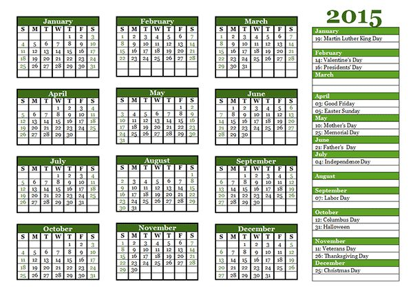 2015 Yearly Calendar Template 06 - Free Printable Templates