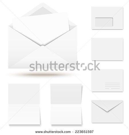 Blue Envelope Opened Empty White Paper Stock Vector 581407027 ...