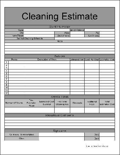 Carpet Cleaning Estimate Sheet - Carpet Vidalondon