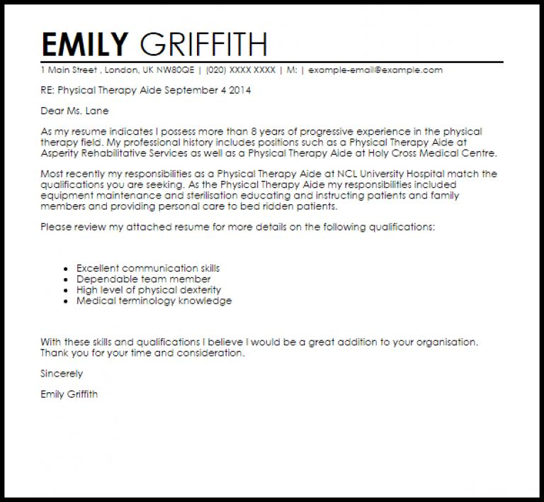 Sample cover letter and physical education