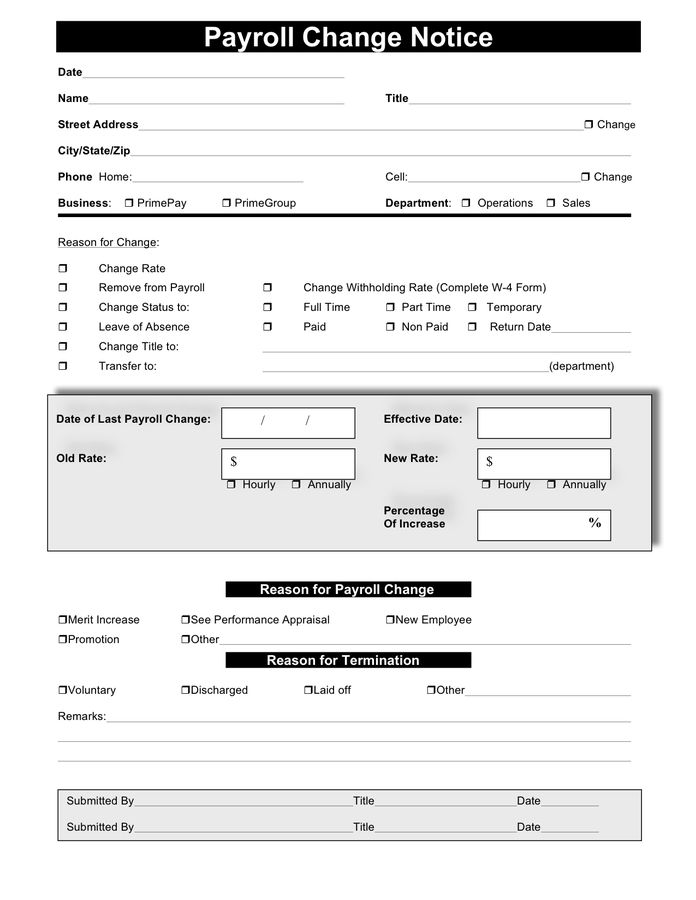 Payroll Change Form - download free documents for PDF, Word and Excel