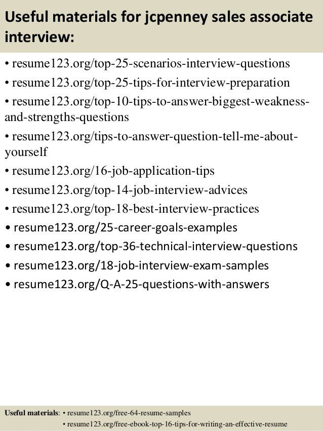 Top 8 jcpenney sales associate resume samples
