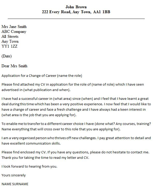 Career Change Cover Letter Example - icover.org.uk