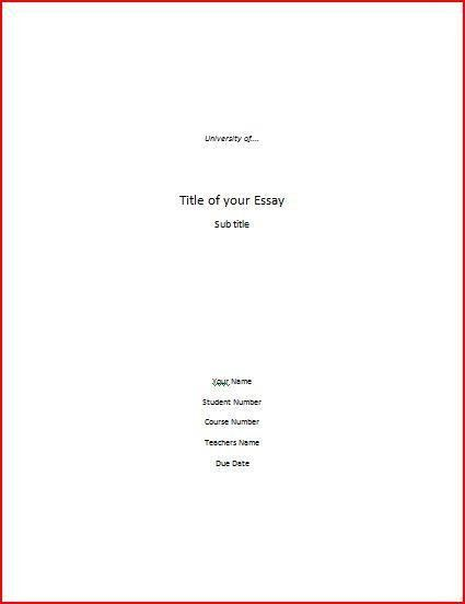 Essay Cover Page Writing Help - Cover Page Format, APA Cover Page ...