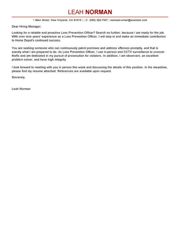 Best Loss Prevention Officer Cover Letter Examples | LiveCareer