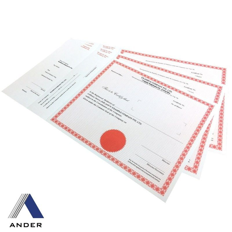 Company share certificates for business incorporation Ander Singapore