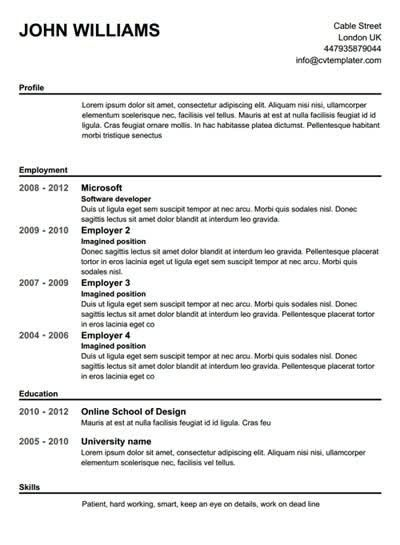 Free Printable Resume Templates | Template Design