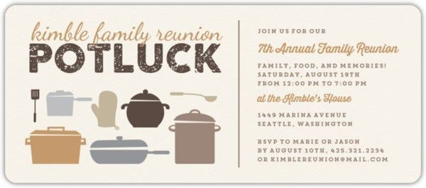 Neutral Colored Potluck Family Reunion Party Invitation | Reunion ...