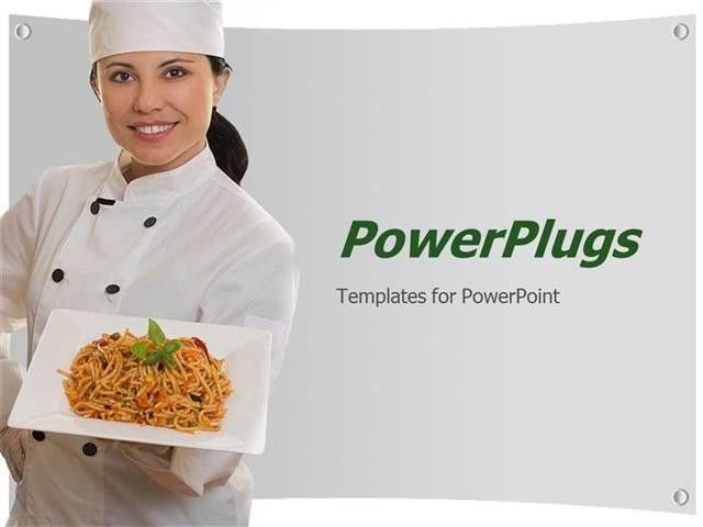 PowerPoint Template: smiling lady chef holding plate of pasta (6780)