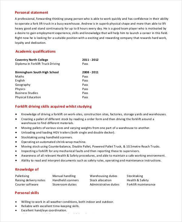 Forklift Driver Resume 20 Job Description - uxhandy.com