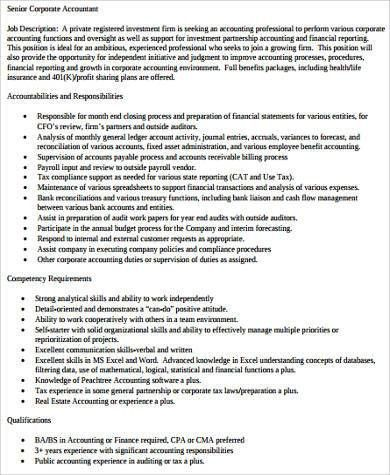 Sample Senior Accountant Job Description - 9+ Examples in Word, PDF