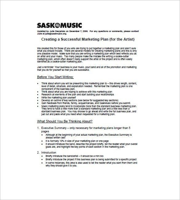 Music Marketing Plan Template -10+ Free Word, Excel, PDF Format ...