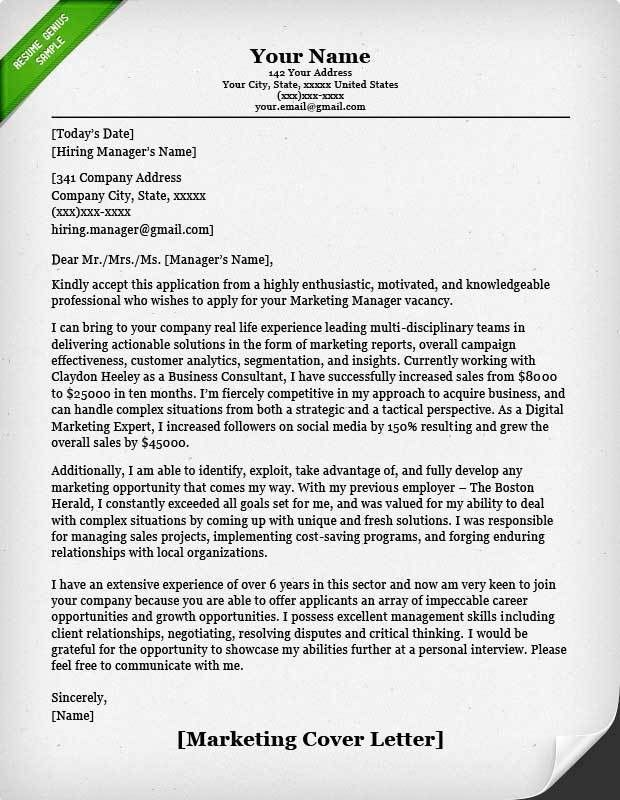 Salesperson & Marketing Cover Letters | Resume Genius