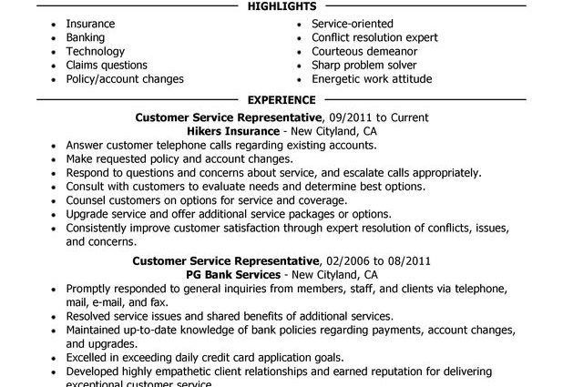 Customer Service Representative Resume Sample Insurance Specialist ...