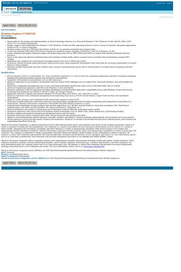 Desktop Engineer job at Marsh & McLennan Companies in United ...