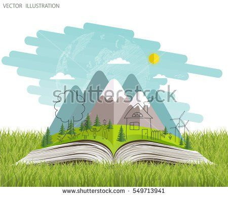Open Book Nature Open Book Landscape Stock Vector 522305608 ...