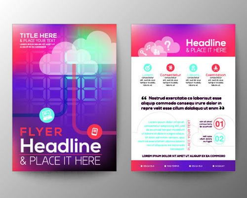 A4 flyer design template vectors material 02 - Vector Other free ...