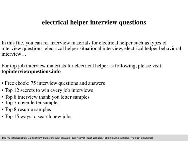 Electrical helper interview questions