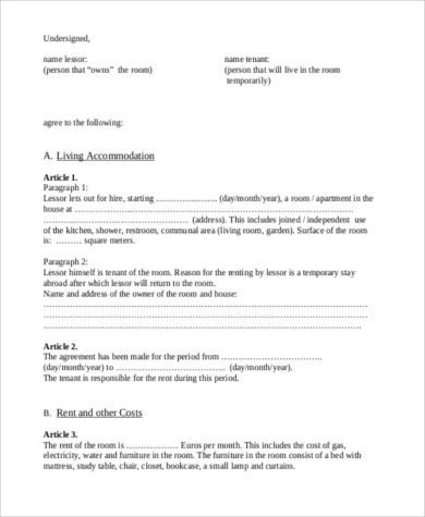 Sample Renters Contract Form- 8+ Free Documents in Word, PDF