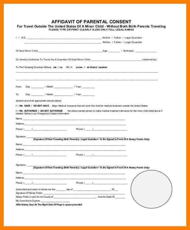 8+ affidavit of parental consent form template | joblettered
