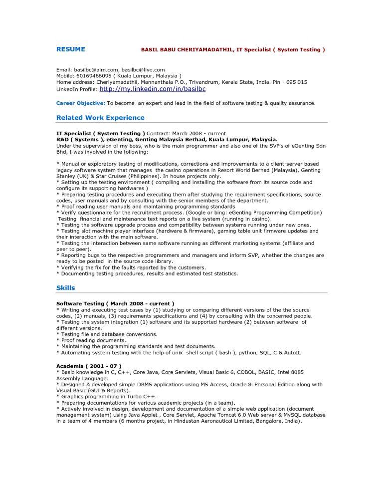 Mobile Application Tester Resume Sample. mobile application ...