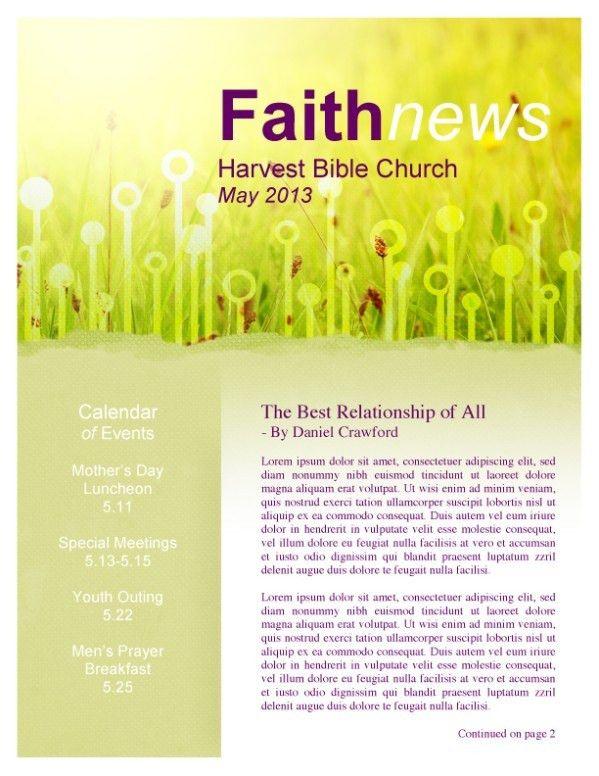 As We Gather Church Newsletter Template | Newsletter Templates