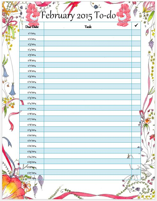 Monthly To Do List Template Free | to do list template
