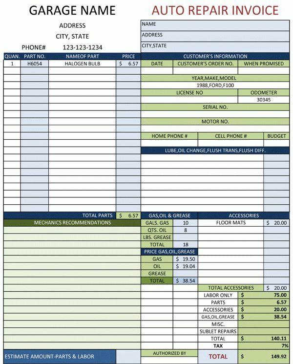 Auto Invoice Template | invoice example